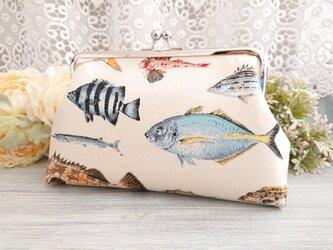 ◆【再販】釣り好きさんのお魚がま口ポーチ*海川フィッシュ魚釣り旅行やプレゼントにの画像