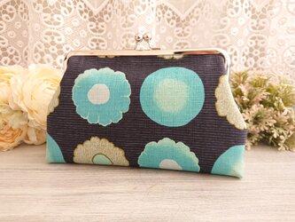 ◆ころりん和花のがま口ポーチグリーン*和柄和風フラワーモダン旅行やプレゼントにの画像