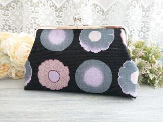 ◆ころりん和花のがま口ポーチピンクパープル和柄和風フラワーモダン旅行やプレゼントにの画像