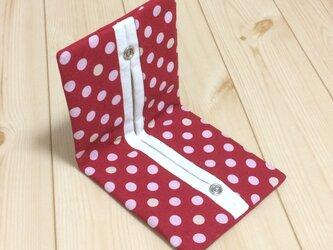 【受注製作】ポップなレッドドット柄✖11号生成帆布 折りたたみ 携帯ティッシュケースの画像