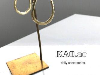 送料無料 新作 真鍮製longフープピアス 14kgfポストの画像