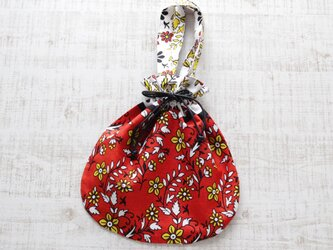 アフリカ布『カンガ』の巾着バッグの画像