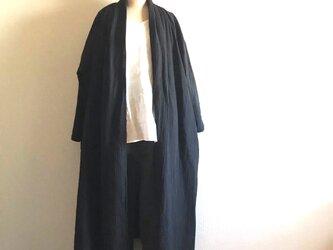 国産ダブルガーゼのローブガウンコート/ブラックの画像