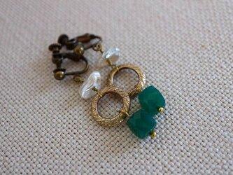 グリーンオニキス*緑*真鍮リング*ヴィンテージ*フレンチスタイル*淡水パール*イヤリング*no.396の画像