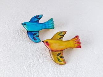 南国の小鳥ブローチ(マンゴー)の画像