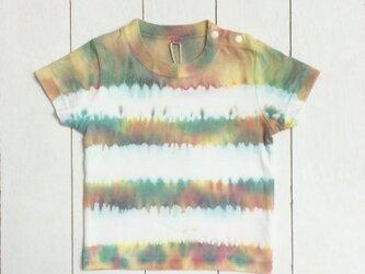 手染めキッズTシャツ 80 ボーダーBorder イエロー×ピンク×グリーンの画像