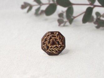 陶器の帯留め 『飴釉の葉』の画像
