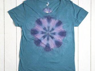 手染めタイダイレディースTシャツ L  chakra&eye ターコイズブルーの画像