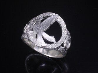 指輪 メンズ : 八咫烏 リング 白仕上げ シルバーリング 神話 14~24号の画像