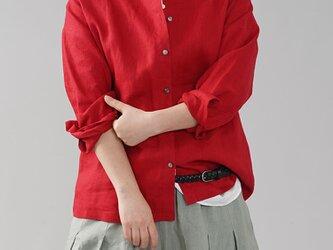【wafu】中厚地 リネン カーディガン 長袖トップス ブラウス 丸首 ボレロ 貝ボタン カフス/レッド t036a-red2の画像