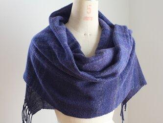 手織り 濃紺とぼかしのストールの画像