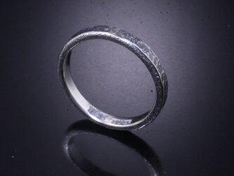 【刻印無料】 指輪 メンズ レディース :岩石丸 鎚目 シルバー リング 3mm幅 4~27号 槌目 シンプル ペアリングの画像
