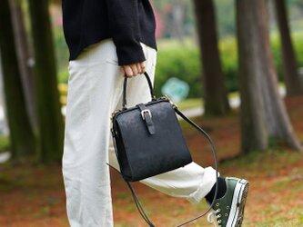 【切線派】新商品!たるマチ2WAY 鞄 がま口 本革手作りのレザーショルダーバッグ 総手縫い 手持ち 肩掛けの画像
