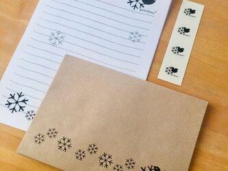 鳥と雪の結晶のレターセットの画像