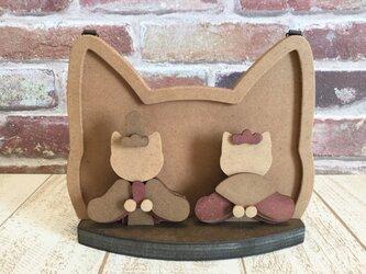 ひな祭り☆木製 猫の雛人形☆おひなさま☆変わり雛の画像