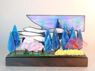 ステンドグラスフュージングオーナメント「桜のころ」の画像
