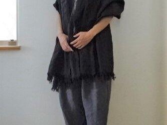 【完成品】スミ黒チャコール/天日干しリネン 大判ストールの画像