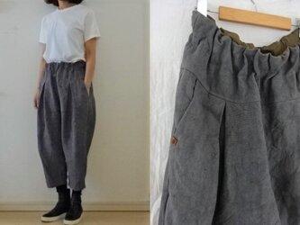 【受注制作】グレー/リネン帆布 半端丈タックパンツの画像