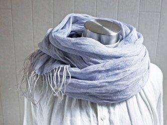 Decoオリジナル 上質リネン・シングルガーゼのストール ブルーラベンダー×亜麻色(水色)の画像