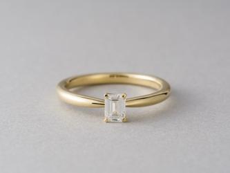 【オーダー】Erice エメラルドカットダイヤモンドリングの画像