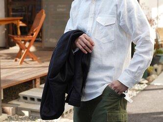 【wafu】【M】メンズ 中厚地 リネン ラグラン シャツ 長袖  胸ポケット メンズライク/ホワイトt035h-wht2-mの画像