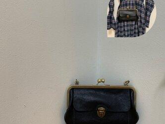 上質牛革 大きながま口ショルダー財布◆黒の画像