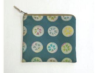 ファスナーポーチ[金柑]青緑の画像
