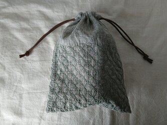 刺し子の巾着【あじさい】の画像