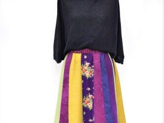 着物地のスカート:紫花柄/着物リメイク/国内送料無料/2営業日以内発送/2002s03の画像