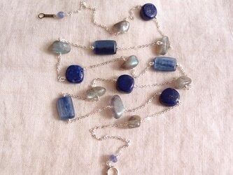 送料無料【silver】ステーションネックレス/kyanite × lapis lazuli × labradoriteの画像