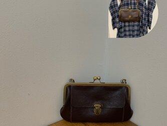 上質牛革 大きながま口ショルダー財布◆焦げ茶の画像