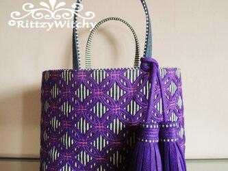 【受注生産】刺し子風トートバッグ(七宝つなぎデラックス・紫×ストライプ)の画像