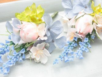 桜と青色小花のパステルコサージュ☆の画像