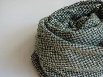 手織りカシミアストール・・モスグリーン×水色の千鳥格子の画像