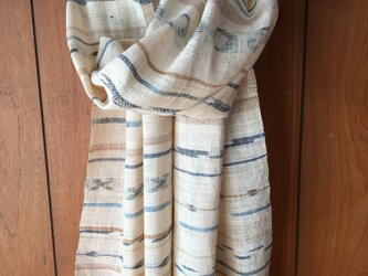 手紡ぎ木綿のストール M30-②の画像