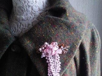 八重桜のコサージュブローチBの画像