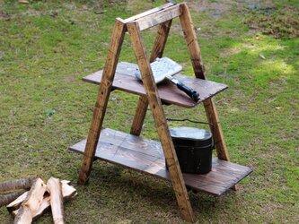 折りたたみ2段ラック アンティーク風 ダメージ エイジング キャンプ アウトドア camp outdoorの画像