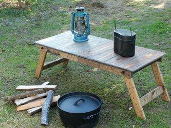 折りたたみ式テーブルラック40 アンティーク風ダメージ エイジング キャンプ アウトドア camp outdoorの画像