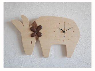 【受注製作】時計 「お花とロバ」の画像