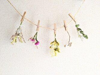 自家栽培ハーブのユーカリとスターチスとナンキンハゼの春感じるフラワーガーランドの画像