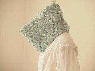 ウールモヘアのふわふわ花のネックウォーマー*ミントグリーンの画像