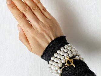 ★3WAY★パールビーズ・ロング&2連ネックレス&5連ブレスレッド(Gold/96cm/8mm round beads)の画像