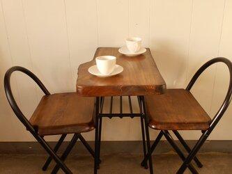 けやきアイアンテーブル・イス(2)セット12-15-2の画像