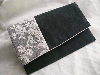 アンティークレース 袱紗・懐紙 ポーチ 黒の画像