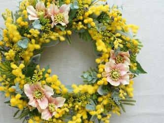 Spring Wreath ~mimosa~35cm(造花)の画像