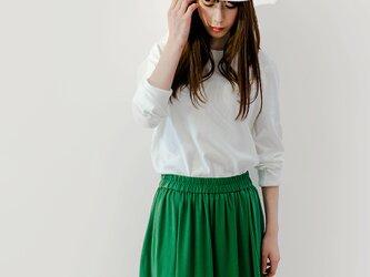 年間OK! エメラルドグリーン 上質なカットソー素材 ロングスカート ●ADELE-EMERALD●の画像