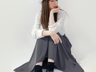 年間OK! フェザーグレー 上質なカットソー素材 ロングスカート ●ADELE-FEATHER●の画像