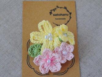 パステルカラーの春花ブローチの画像