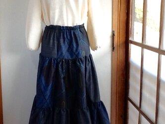 紺色3種の大島紬からのふんわりギャザースカートの画像