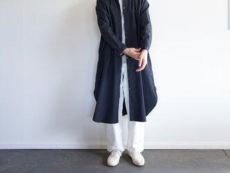 weather cloth cotton linen/raglan shirt one piece/navyの画像